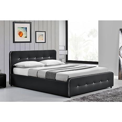 El Balder–Estructura de cama puntadas negro con baúl de almacenamiento y somier–140x 190cm