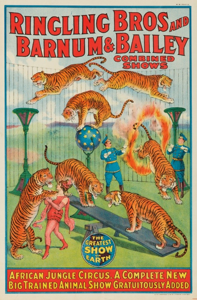 Ringling Bros and Barnum and Bailey - African Jungle Circus (window card) Vintage Poster USA c. 1922 (9x12 Collectible Art Print, Wall Decor Travel Poster) 0