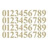 0 to 9 Number Stickers Gold Vinyl Decals Set of 40 Choose Size!! 1