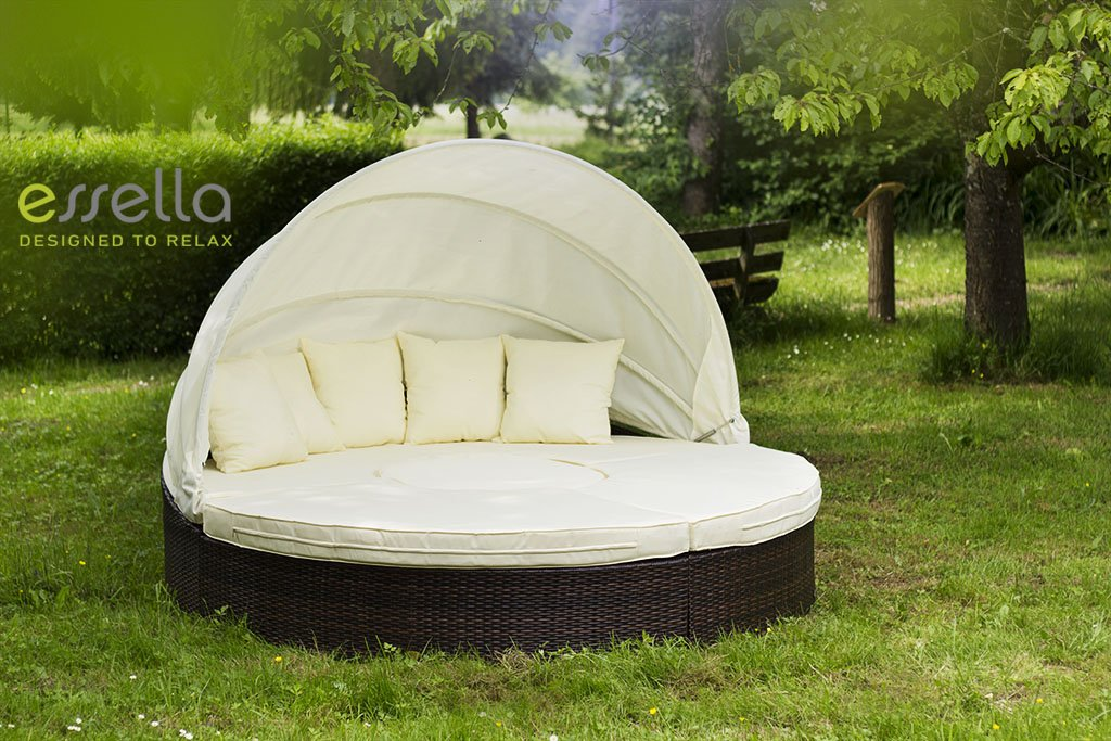essella Polyrattan Sonneninsel Honolulu in Bicolor-Braun mit extra starkem 1,4mm Geflecht online kaufen