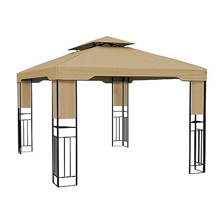 PARAMONDO Deluxe Gazebo Pabellón de jardín Cenador resistente al agua, 4 x 3m, beige