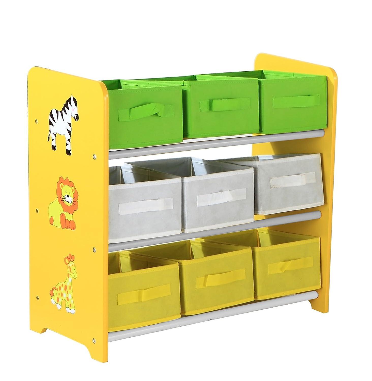 Bentley Kids – Spielzeugregal mit 9 farbigen Aufbewahrungsboxen für Kinder – Safari-Motiv günstig kaufen