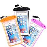 Waterproof Case, 3 Pack CTREEY Universal Clear Transparent Waterproof Bag with Touch Responsive Transparent Screen Protector for iPhone 6S 6 Plus, 5S SE, Samsung Galaxy S7 S6 edge, Note 5 4 3 (B/O/P) (Color: B/O/P)