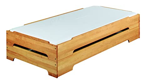 BioKinder 22633 Kai Spar Set Stapelbett aus Massivholz Erle 90 x 200 cm 2 Stuck
