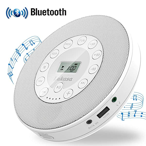 Portable CD Player with Bluetooth,Personal Walkman MP3 Players 2000mAh Rechargeable Compact Car Disc CD Music Player USB Play Built-in Stereo Speaker Anti-Shock Protection (White) (Color: White)