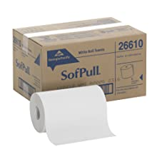 "Georgia-Pacific 26610 SofPull Paper Towel Roll, 1-Ply Hardwound, 9"" Width x 400' Length, White (Pack of 6)"