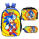 Qushy Sonic Backpack Lunch Box Pencil Case Outdoor School Package (A) (Color: A)
