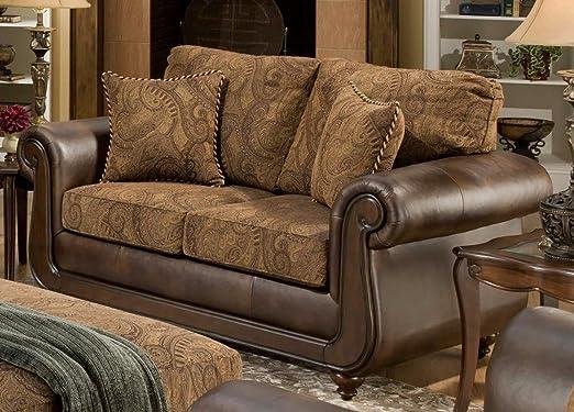 Chelsea Home Furniture Oneida Loveseat, Isle Tobacco/Kiser Cappuccino/Teton Onyx Pillows (2)