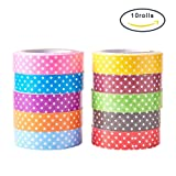 PandaHall 10 Rolls Single Face Polka Dot Pattern Printed Cotton Ribbon Adhesive Tape 15mm Width Mixed Color