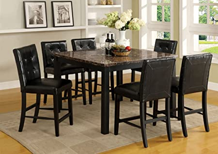 7 Pc. Boulder II Contemporary Style Faux Marble Table Top with Espresso Legs Counter Height Dining Set