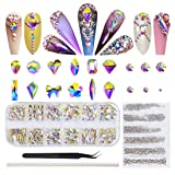 ULGAI Nail Rhinestones Set, AB Crystal Rhinestones for Nails, Flatback Crystals with Mixed Shapes and Sizes for Nail Art Decoration, Clothes, Jewelry (180Pcs AB Crystals + 2000Pcs Rhinestones