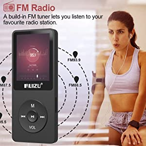 Mp3 Player, RUIZU X02 Ultra Slim Music Player with FM Radio, Voice Recorder, Video Play, Text Reading, 80 Hours Playback and Expandable Up to 128 GB (Black) (Color: Black)