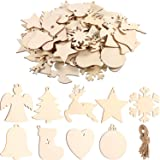 Tatuo 90 Pieces Unfinished Ornaments Christmas Wooden Ornaments Hanging Embellishments Crafts for DIY, Christmas Hanging Decoration (White Multi-Shapes) (Color: White Multi-shapes)