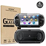 (4-Pack) Screen Protectors for Sony PlayStation Vita 2000 with Back Covers, Akwox 9H Tempered Glass Front Screen Protector and HD Clear Crystal PET Back Screen Protective Film for PS Vita PSV 2000 (Color: For PSV 2000 front and back)