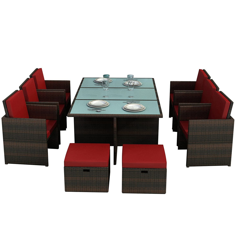 Gartenmöbel Bali braun/rot – Essgruppe Garten Möbel Tisch mit 6 Stühlen und 4 Hocker incl. Glas und Sitzkissen Rattan Polyrattan Garten Gartenausstattung von Jet-Line kaufen