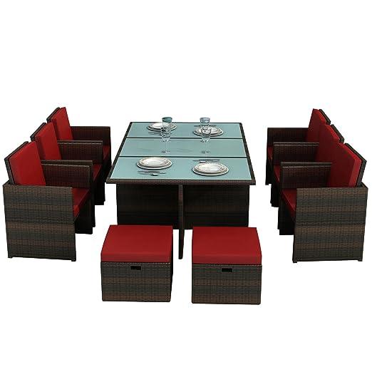 Gartenmöbel Bali braun/rot - Aluminium Essgruppe Garten Möbel Tisch mit 6 Stuhlen und 4 Hocker incl. Glas und Sitzkissen Rattan Polyrattan Garten Gartenausstattung von Jet-Line