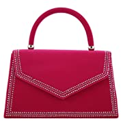 Girly Handbags Suede Diamante Clutch Bag