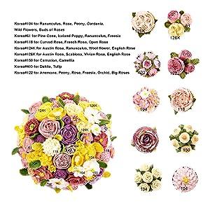 Cake Decorating Tips Baking Set, Frosting Piping Kit Pastry Bags and Tips, Cupcake Decorating Supplies with Icing Piping Tip, Decorating Nail, Pastry Bags, Wood Holder, Flower Lifter, Coupler (Color: Silver, Tamaño: Korea Flower Decorating Tip Set)