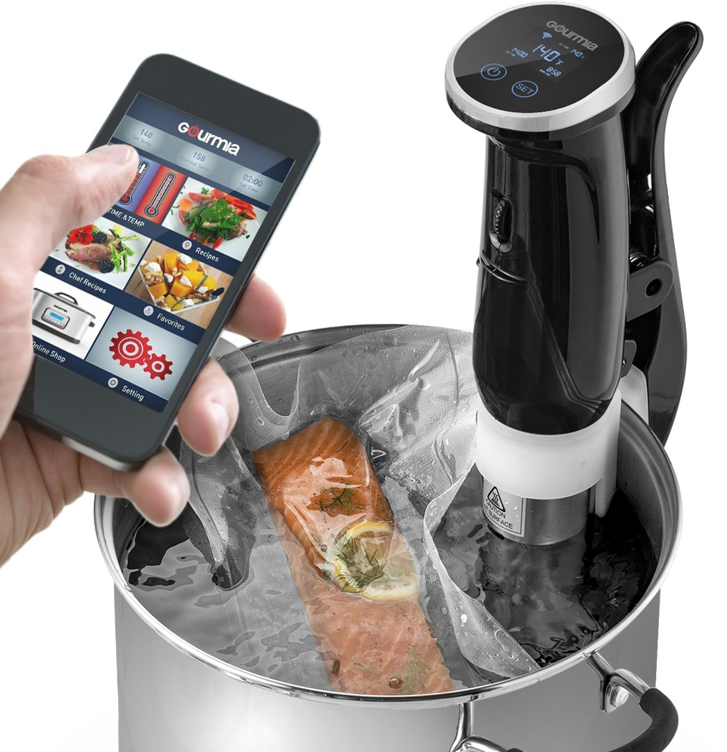 Gourmia GSV150B WiFi Sous Vide Precision Cooker Immersion Pod, 1200W Powerful & Accurate, App Controlled, with LED Display - Includes Free Recipe Book,