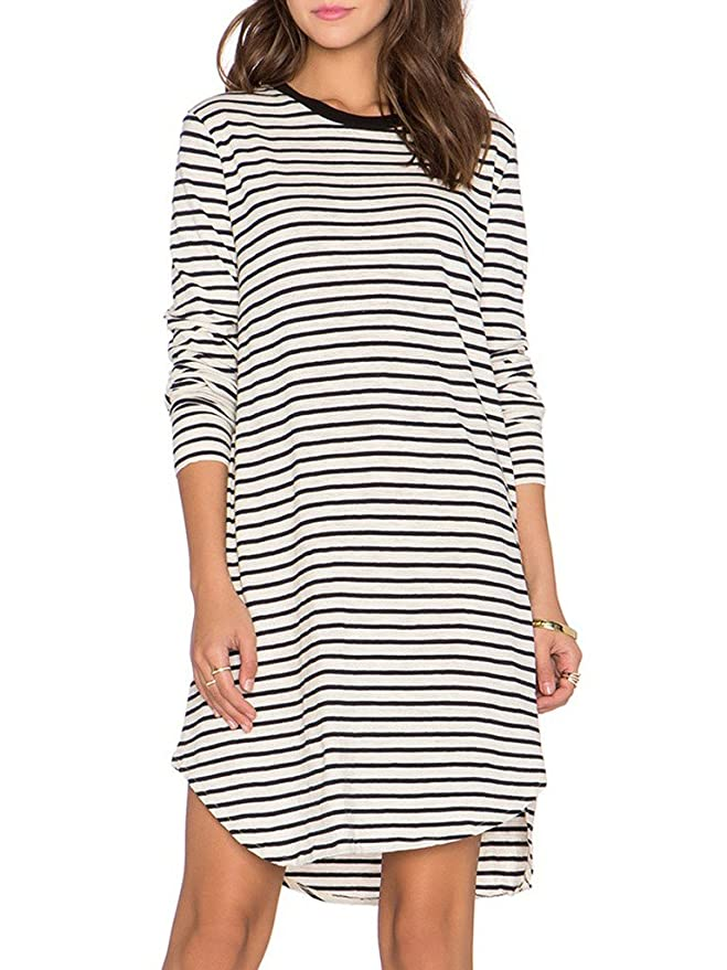 Persun Women Monochrome Stripe Long Sleeve Shift Dress White X-Large