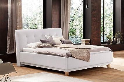 Bett, Doppelbett, Polsterbett, Bettgestell, Ehebett, Liegefläche 180x200 cm, weiß, Kunstleder, Massivholzfuße, Eiche