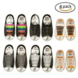 Pack of 6 Lazy No Tie Silicone Shoelace for Adult and Kids,Waterproof Rubber Flat Running Shoe Laces for Sneakers Board Shoes Casual Shoes and Boots(416 pcs for Adult with 212 pcs for Kids)