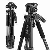 MACTREM PT55 TRAVEL CAMERA TRÍPODE DE ALUMINIO LIGERO para DSLR SLR Canon Nikon Sony Olympus DV con bolsa de transporte -11 lbs (5 kg) de carga (negro)