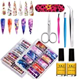 Suncharm 20 Color Nail Art Foil with Nail Glue, Holographic Nail Art Transfer Stickers DIY Decoration, UV LED Lamp Required .