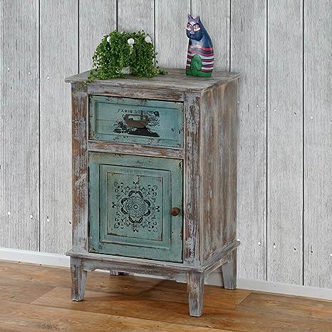 Commode en bois d'épicéa avec une porte et un tiroir en MDF, H 75 x L 48 x P 36 cm -PEGANE-