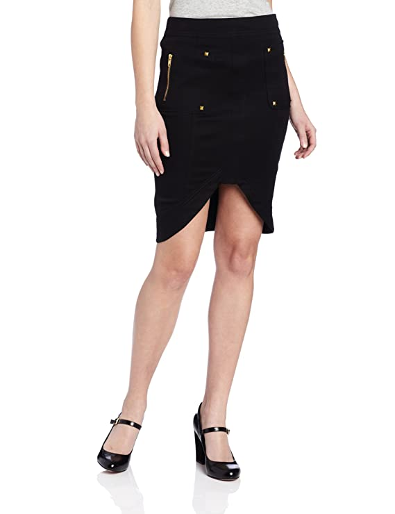 XOXO Juniors Exposed Zipper Patch Pocket Hi Low Skirt