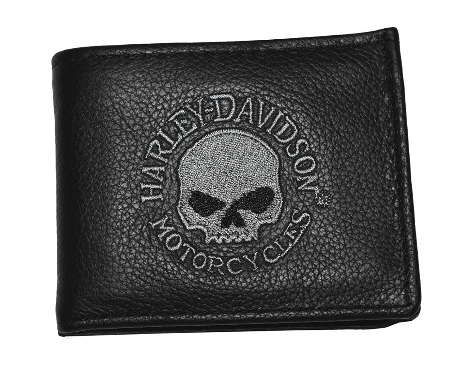 Embroidered Leather Wallet Wallet Black Leather
