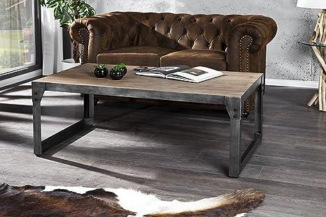 Invicta Interior Industrial - Mesa de café (120 cm, metal y madera de acacia)