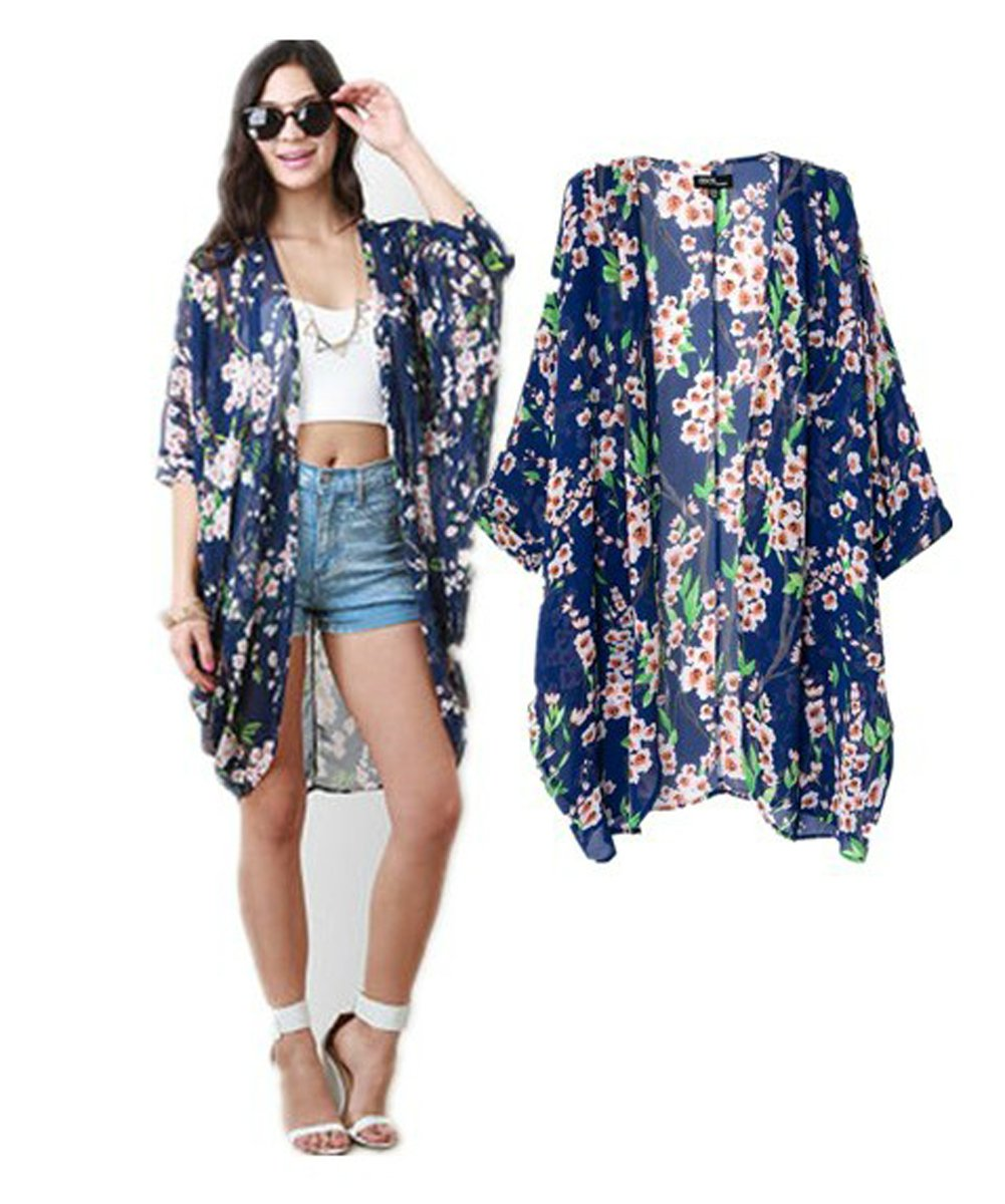 Vintage Women Girls Floral Print Long Loose Kimono Jacket Coat Cardigan Blouses (blue) 2