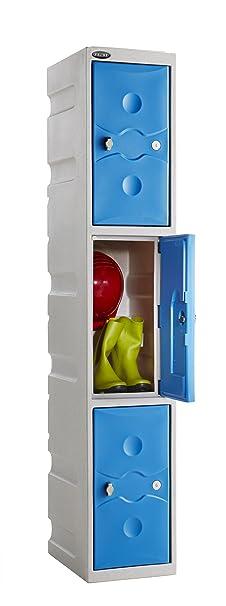 Probe Ultrabox Plastic Locker 3 Door Compartment 1800Hx325Wx450D Blue