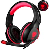 Fenvella Xbox One Headset - Gaming Headphone With Mic For PS4,Xbox One (Adapter Need),Nintendo Switch (Audio control),Noise-Canceling PC Game Headset 3.5mm Over-Ear Headphone With LED Light (Red) (Color: red)