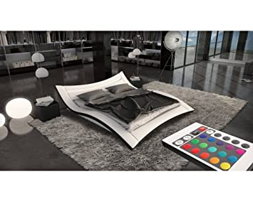 lit design blanc blanc odense 160cmx200cm avec matelas. Black Bedroom Furniture Sets. Home Design Ideas