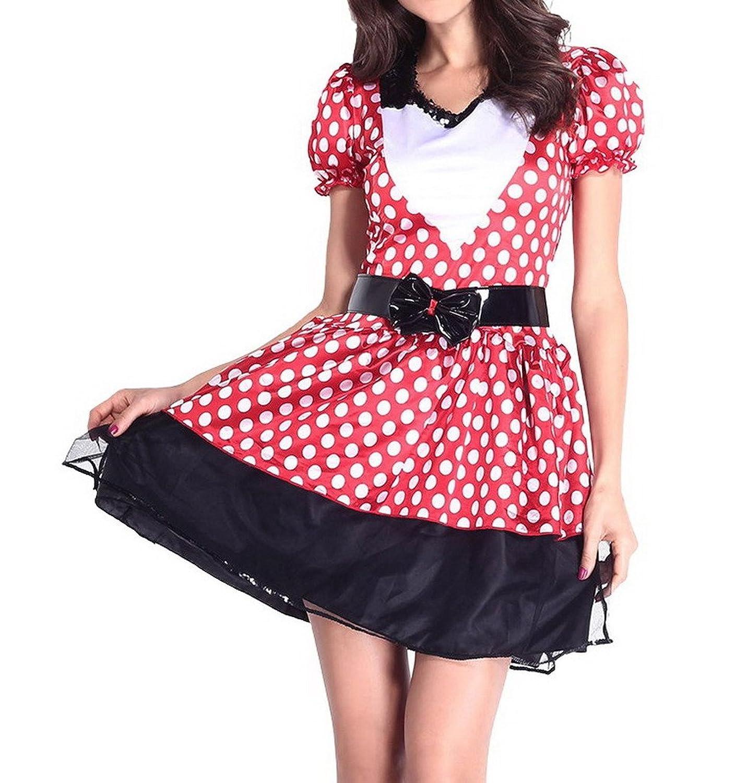 Bigood Mickey Kleid Damen Mädchen Cosplay Kostüm Rollenspiel Kostüm One-Size Rot-Schwarz kaufen