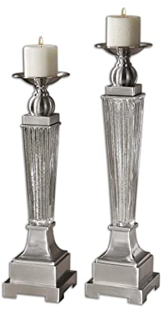 Silver Mercury Glass & Aluminum Pedestal Pillar Candle Holder - Set of 2 by Diva At Home