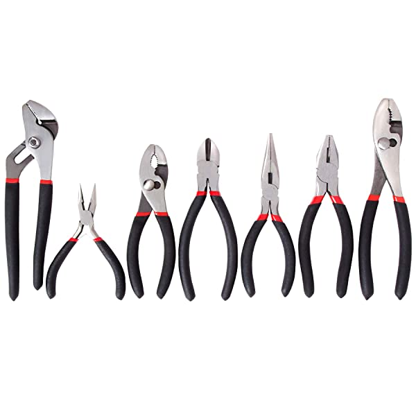 FASTPRO 7-piece Utility Pliers Set, Includes Slip Joint Pliers, Long Nose Pliers, Diagonal Pliers, Groove Joint Pliers, Linesman Pliers and Mini Long