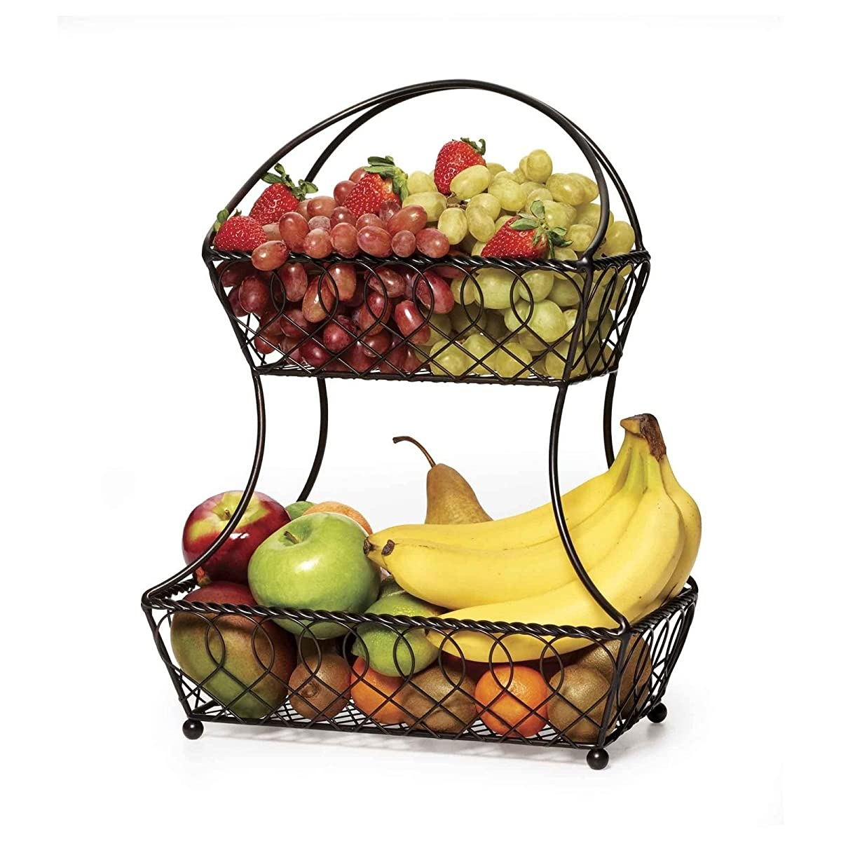 Mikasa Gourmet Basics 2-Tier Flatback Basket Display Fruit Kitchen Antique Wire