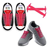 HOMAR No Tie Shoelaces in 13 Colors Kids Adult - Best in Sports Fan Shoelaces - Elastic Shoe Laces Turn Your Shoes into A Slip-on Perfect Sneaker Boots Oxford Casual Shoes - Pink
