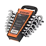 KSEIBI 123970 14 Piece Ratcheting Combination Wrench Set - Chrome Vanadium Steel Ratchet Wrenches Kit with Storage Keeper SAE & Metric, 72-Tooth ratchet action - Auto Repair Hand Tools Set. (Color: Chrome, Tamaño: 14 Pieces)