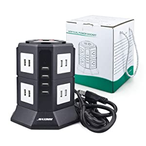 Maximm Power Strip Tower, Surge Protector Electric Charging Station, 20 USB Ports + 6 Feet Long Extension Cord,Charges Smartphones, Tablets (Color: Black-2 Layer, Tamaño: 20 USB)