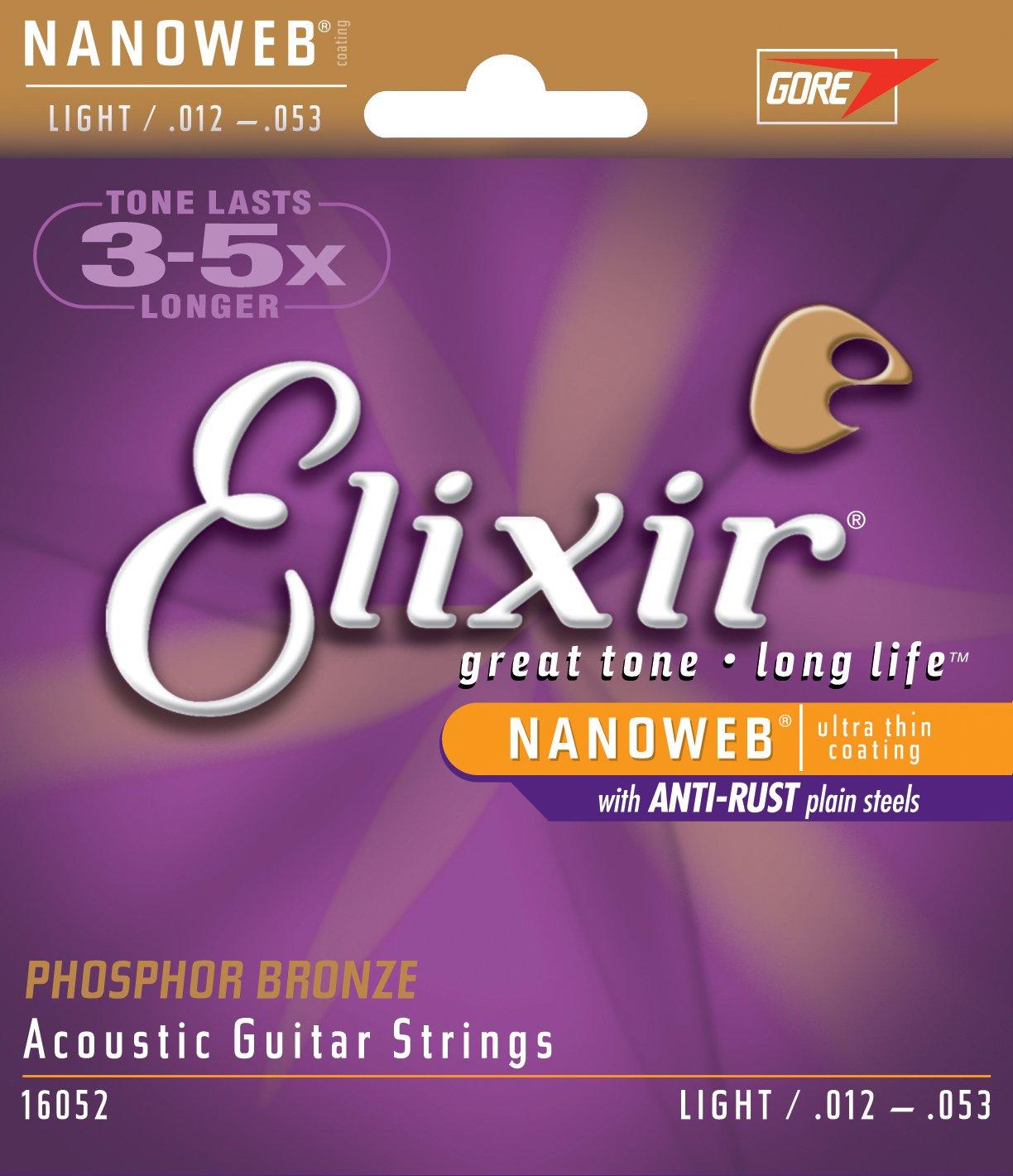 Elixir Strings Acoustic Phosphor Bronze Guitar Strings with NANOWEB Coating, Light (.012-.053)