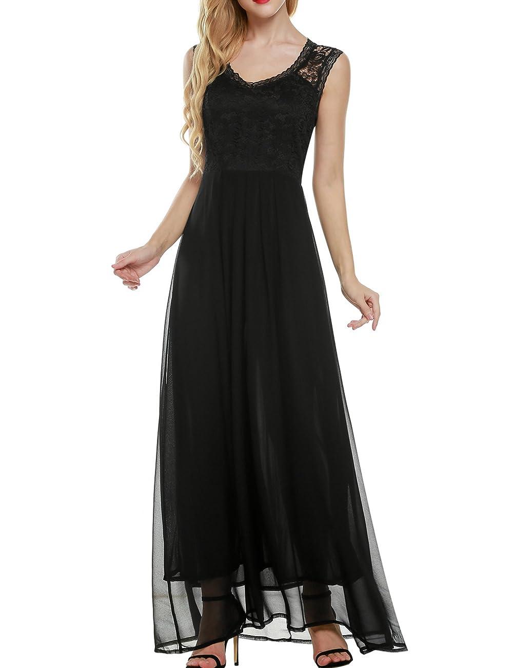 ANGVNS Women's Casual Deep- V Neck Sleeveless Vintage Maxi Dress 0