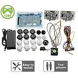 2 Joysticks DIY Kit Bundle Home Family Pandora's Box 5S Arcade Machine 1299 Games Multi-Game Arcade Cabinet DIY Kit Arcade Stick, VGA HDMI Full Set of 2 Players (Color: Black-white)