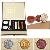 Wax Seal Stamp Kit,Mingting Vintage Wax Stamp Seal Kit Initial Letters Alphabet (R) (Color: R)