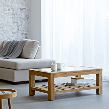 mesa centro madera maciza teca 100 x 60 cm kwad diseño salón cuadrada cristal