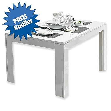 SLATE Table extensible 160/206cm blanc brillant