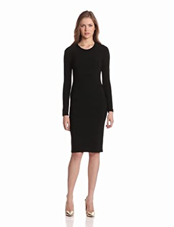 KAMALIKULTURE Women's Long Sleeve Crew Neck Dress, Black, X-Small